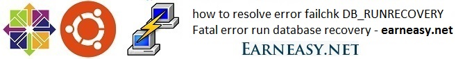 Now to resolve error failchk DB_RUNRECOVERY Fatal error run database recovery